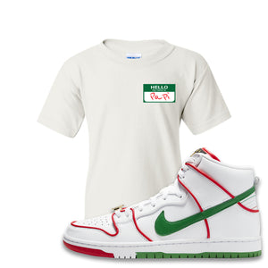 Paul Rodriguez's Nike SB Dunk High Sneaker White Kid's T Shirt | Kid's Tees to match Paul Rodriguez's Nike SB Dunk High Shoes | Hello My Name Is Papi