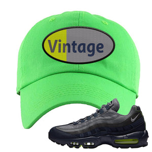 Air Max 95 Midnight Navy / Volt Dad Hat | Neon Green, Vintage Oval