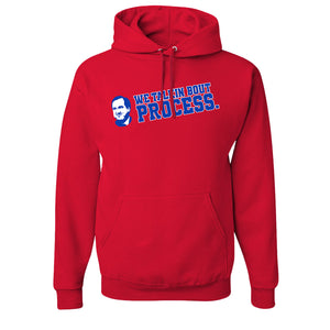 Talking Bout Process Pullover Hoodie | We Talking Bout Process Red Pull Over Hoodie the front of this hoodie has the talkin bout process design