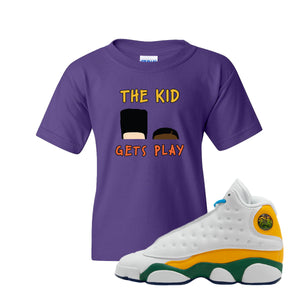 The Kids Gets Play Purple Kid's T-Shirt to match Air Jordan 13 GS Playground Kids Sneaker