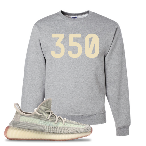 Yeezy Boost 350 V2 Citrin Non-Reflective 350 Athletic Heather Sneaker Matching Crewneck Sweatshirt