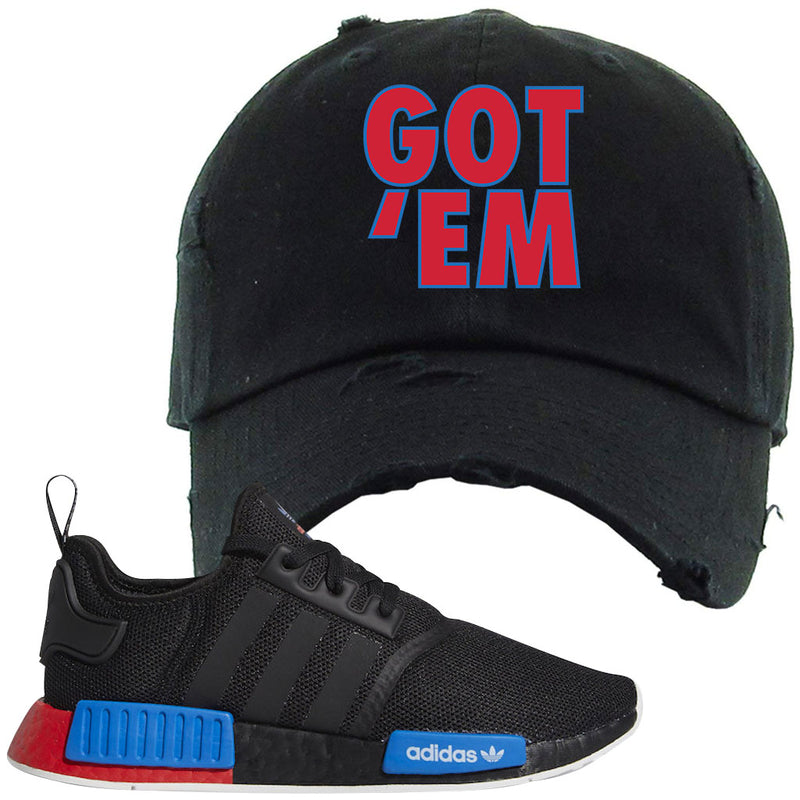 NMD R1 Black Red Boost Matching Distressed Dad Hat | Sneaker Distressed Dad Hat to match NMD R1s | Got Em, Black