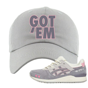 END x Asics Gel-Lyte III Grey And Pink Dad Hat | Got Em, Light Gray