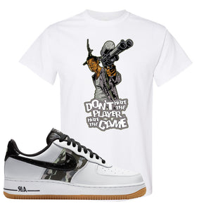 Air Force 1 Low Camo T Shirt | Don't Hate The Playa, White
