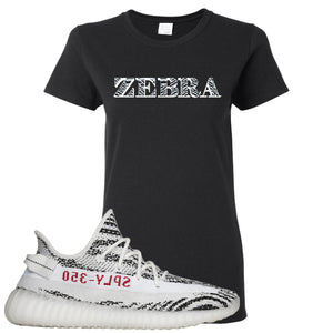 Yeezy Boost 350 V2 Zebra Zebra Black Sneaker Hook Up Women's T-Shirt