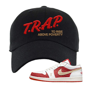 Air Jordan 1 Low Spades Dad Hat | Trap To Rise Above Poverty, Black