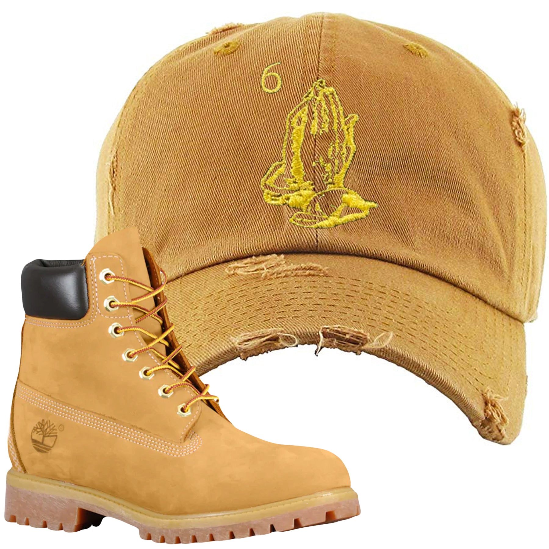 d14182fedbed65 Embroidered on the front of the Timberland Wheat Timbs Boot Matching Dad Hat  is a matching