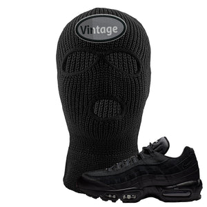 Air Max 95 Essential Black/Dark Grey/Black Sneaker Black Ski Mask | Winter Mask to match Nike Air Max 95 Essential Black/Dark Grey/Black Shoes | Vintage Oval