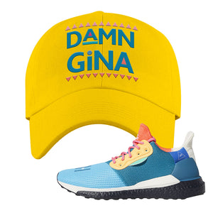Foot Clan  Pharrel Williams X SolarHU Multicolor  Damn Gina  Yellow  Dad Hat    Match your shoes with this Pharrel Williams X SolarHU Multicolor Sneaker Yellow Dad Hat. The Damn Gina logo on the front of this Pharrel Williams X SolarHU Multicolor Sneaker Yellow Dad Hat is perfect to match these kicks. Up your match-game now!