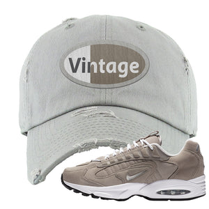 Air Max Triax 96 Grey Suede Distressed Dad Hat | Vintage Oval, Light Gray