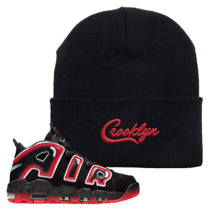 Air More Uptempo Laser Crimson Beanie | Black, Crooklyn