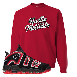 Air More Uptempo Laser Crimson Crewneck Sweatshirt | Red, Hustle & Motivate