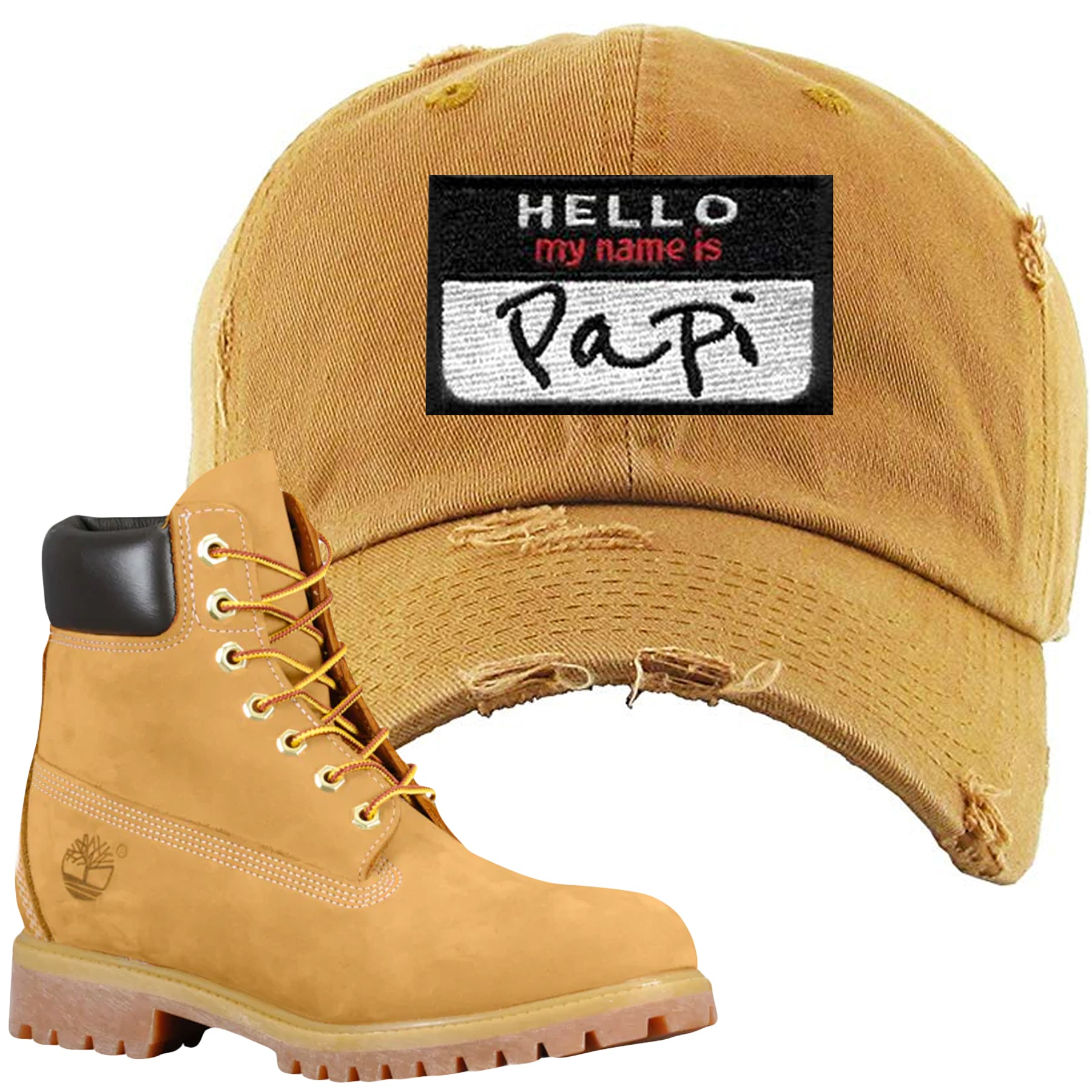 Embroidered on the front of the Timberland Wheat Timbs Boot Matching Dad Hat  is a matching bd56e3c9832b