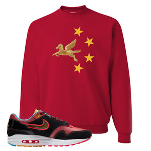 Air Max 1 NYC Chinatown Pegasus With Chinese Stars Red Crewneck Sweatshirt To Match Sneakers