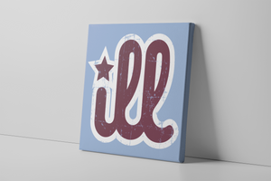 ILL Logo Canvas | ILL Logo Carolina Blue Wall Canvas the front of this canvas has the red and white design