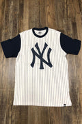 Yankees Vintage T-Shirt | New York Yankees Retro White Short Sleeve | Yankees Throwback White/Navy Pinstriped Shirt front shot
