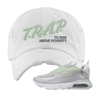 Air Max 2090 'Vast Gray' Distressed Dad Hat | White, Trap To Rise Above Poverty
