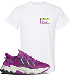 Ozweego Vivid Pink Sneaker White T Shirt | Tees to match Adidas Ozweego Vivid Pink Shoes | Hello my Name is Mami