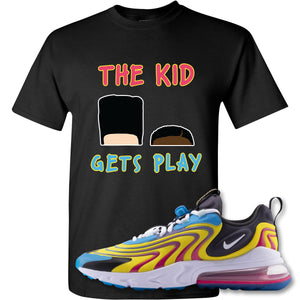 The Kid Gets Play Black T-Shirt to match Air Max 270 React ENG Laser Blue Sneakers