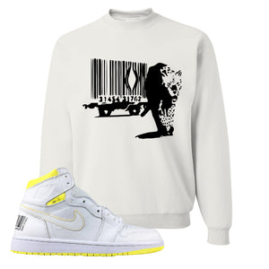 Air Jordan 1 First Class Flight Barcode Leopard White Sneaker Matching Crewneck Sweatshirt