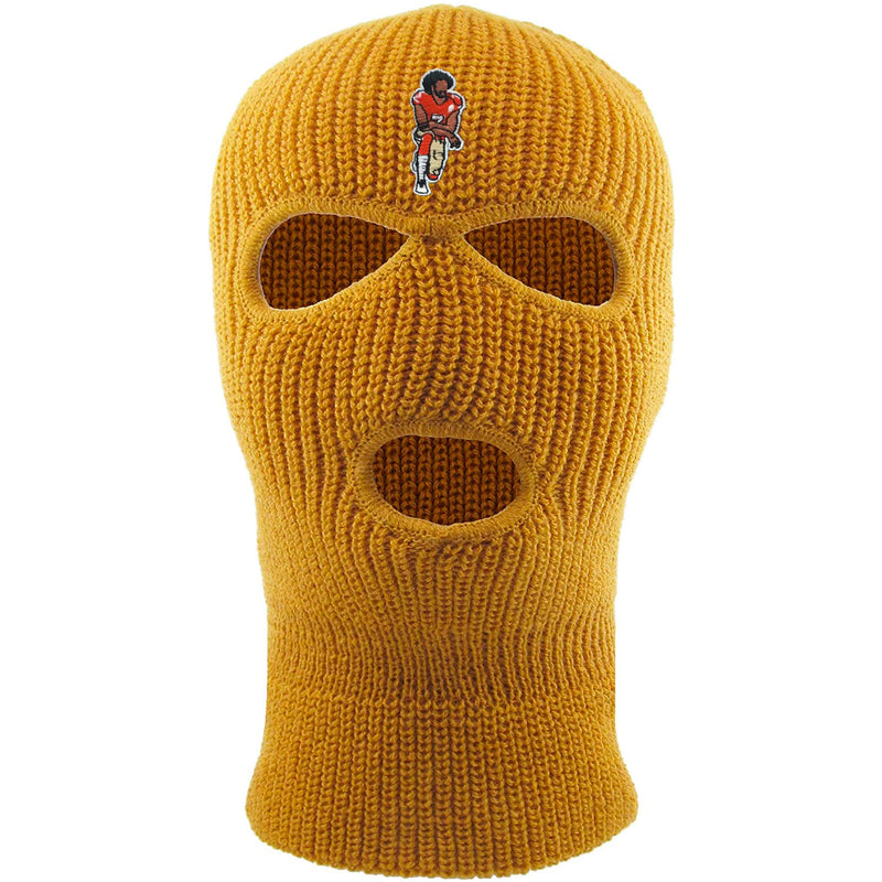 On the front of the kaepernick timberland ski mask is the colin kaepernick taking a knee logo