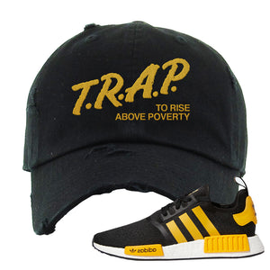 NMD R1 Active Gold Distressed Dad Hat | Black, Trap To Rise Above Poverty