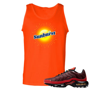printed on the front of the air max plus sunburst sneaker matching orange tank top is the sunburst soda logo