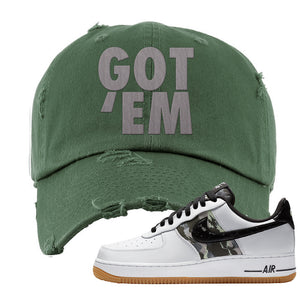 Air Force 1 Low Camo Distressed Dad Hat | Got Em, Olive