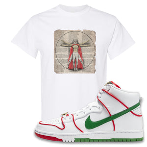 Paul Rodriguez's Nike SB Dunk High Sneaker White T Shirt | Tees to match Paul Rodriguez's Nike SB Dunk High Shoes | Luchador Davinci