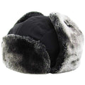 Black Premium Vegan Fur Ushanka Aviator Eskimo Trapper Hat