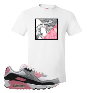WMNS Air Max 90 Rose Pink Marble Mosaic White T-Shirt To Match Sneakers