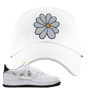 Air Force 1 Dad Hat | White, Daisy Flower