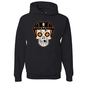 Broad Street Bullies Skull Pullover Hoodie | Broad Street Bullies Candy Skull Black Pull Over Hoodie the front of this hoodie has the bullies skull logo