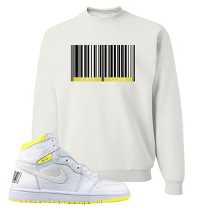 Air Jordan 1 First Class Flight First Class Barcode White Sneaker Matching Crewneck Sweatshirt