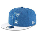 Embroidered on the front of the 2018 on field indianapolis colts snapback hat is the throwback indianapolis colts logo embroidered in blue and white.