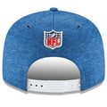 on the back of the 2018 on field indianapolis colts on field snapback hat is the NFL logo embroidered in white, blue, and red