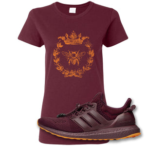 Royal Bee Leaf Maroon Women's T-Shirt to match Ivy Park X Adidas Ultra Boost Sneaker