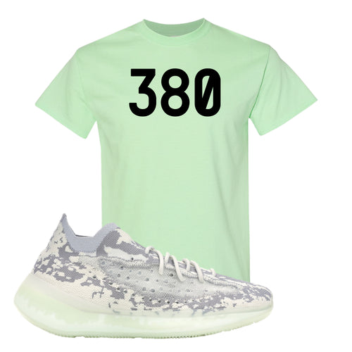 Yeezy Boost 380 Alien 380 Mint Green Sneaker Matching T-Shirt