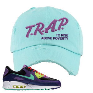 Air Max 90 Cheetah Distressed Dad Hat | Trap To Rise Above Poverty, Diamond Blue