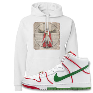 Paul Rodriguez's Nike SB Dunk High Sneaker White Pullover Hoodie | Hoodie to match Paul Rodriguez's Nike SB Dunk High Shoes | Luchador Davinci