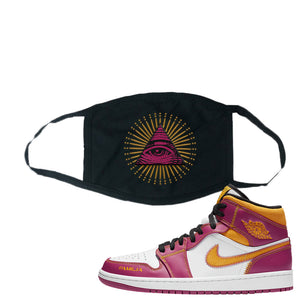 Air Jordan 1 Mid Familia Face Mask | All Seeing Eye, Black