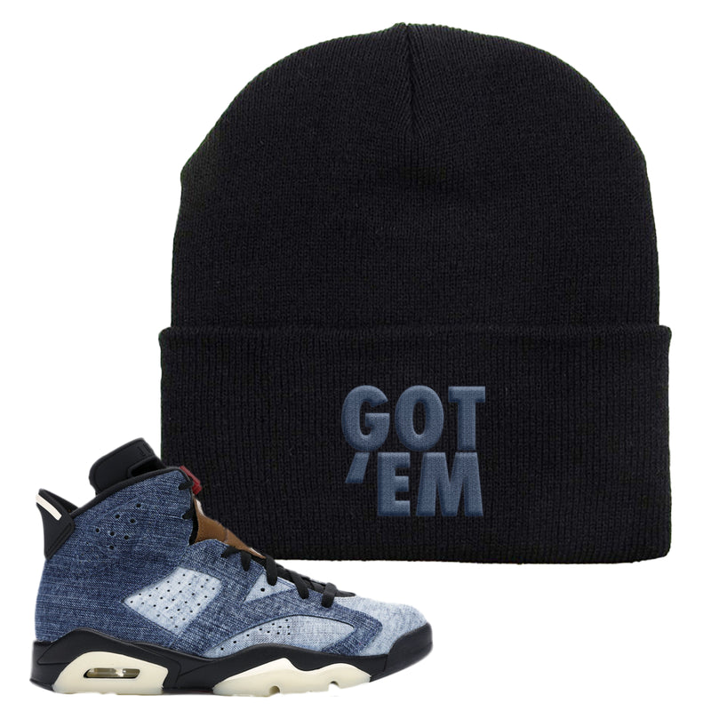 Jordan 6 Washed Denim Beanie | Black, Got Em