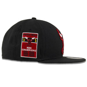 Chicago Bulls 6-Time NBA Champions Black New Era 59Fifty Fitted Cap