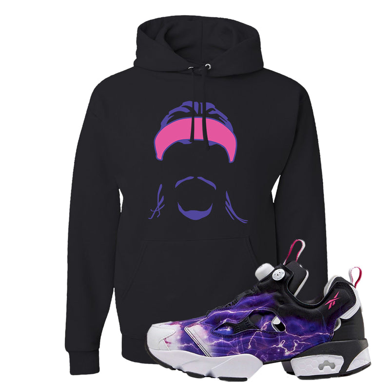 Instapump Fury OG Purple Legion of Fury Hoodie | Headband Corn Rows, Black