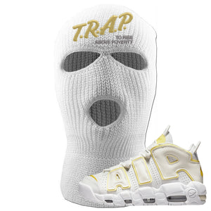 Air More Uptempo Light Citron Ski Mask | Trap To Rise Above Poverty, White