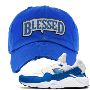 Huarache DNA Series Distressed Dad Hat | Royal, Blessed Arch