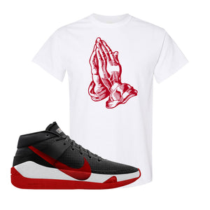 KD 13 Bred T-Shirt | Praying Hands, White