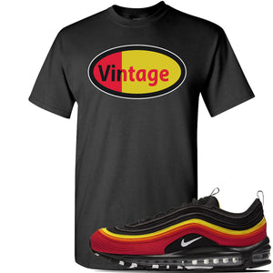 Air Max 97 Black/Chile Red/Magma Orange/White Sneaker Black T Shirt | Tees to match Nike Air Max 97 Black/Chile Red/Magma Orange/White Shoes | Vintage Oval