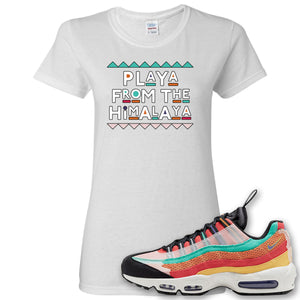 Air Max 95 Black History Month Sneaker White Women's T Shirt | Women's Tees to match Nike Air Max 95 Black History Month Shoes | Playa From The Himalaya