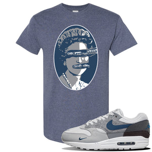 Air Max 1 London City Pack T Shirt | Heather Navy, God Save The Queen